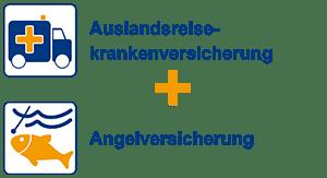 Auslandsreiseversicherung + Angelversicherung