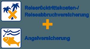 Reiserücktrittskosten-/Reiseabbruchversicherung + Angelversicherung