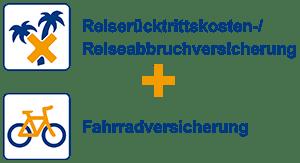 Reiserücktrittskosten-/Reiseabbruchversicherung + Fahrradversicherung