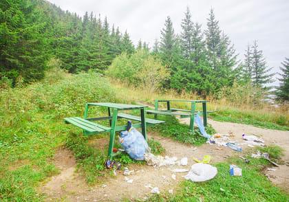 Zwei Parkbänke mit Müllbergen