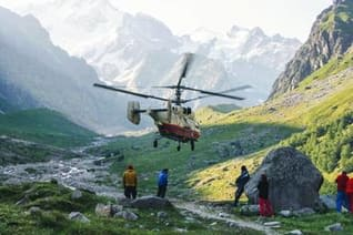 Helikopterbergung nach Wanderunfall in den Bergen