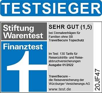 Testsieger 2021 Finanztest Reiserücktrittsversicherung, Reiseabbruchversicherung Topschutz für Familien und Einzelpersonen ohne SB